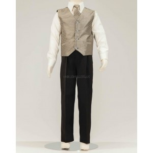 4 Piece Black Suit With Gold Honeycomb Pattern Waistcoat & Cravat
