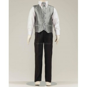 4 Piece Black Suit With Silver Honeycomb Pattern Waistcoat & Cravat