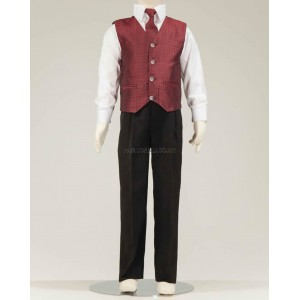 4 Piece Black Suit With Wine Honeycomb Pattern Waistcoat & Cravat