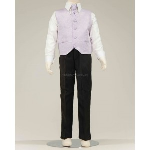 4 Piece Black Suit With Lilac Swirl Pattern Waistcoat & Cravat