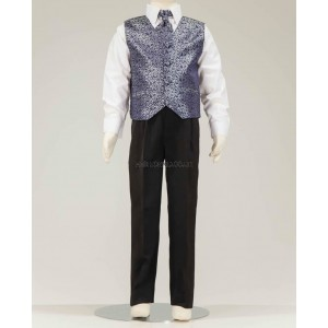4 Piece Black Suit With Navy Swirl Pattern Waistcoat & Cravat