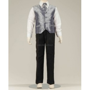 4 Piece Black Suit With Silver Swirl Pattern Waistcoat & Cravat