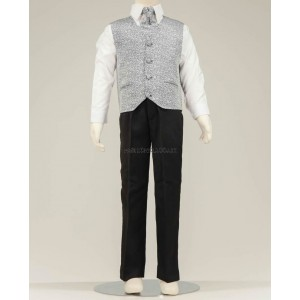 4 Piece Black Suit With Grey Swirl Pattern Waistcoat & Cravat