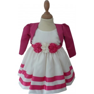 Girls Corsage Cream-Pink Bolero Jacket Dress