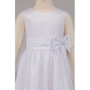 Girls Bridesmaid Party Side White Bow Dress