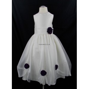 Girls Bridesmaid Party Cadbury Purple Corsage Dress