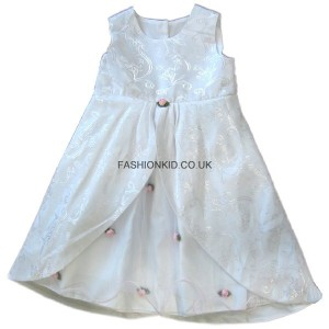 Floral White-Pink Party Girls Dress