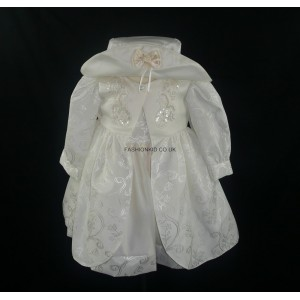 Floral Embroidery Cream Baby Girls Dress
