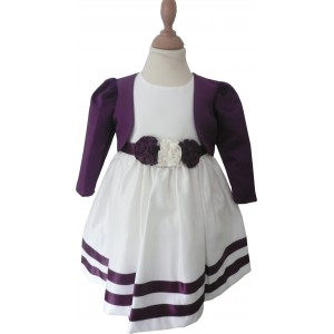 Girls Corsage Cream-Purple Bolero Jacket Dress