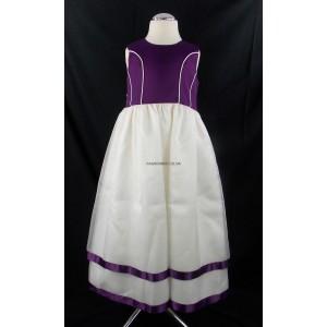 Plain Cream-Purple Party Bridesmaid Dress