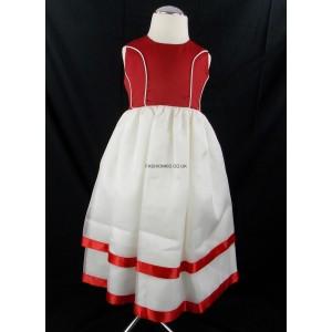 Plain Cream-Red Party Bridesmaid Dress