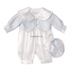 Boys Patterned Baby Blue Christening Romper Suit