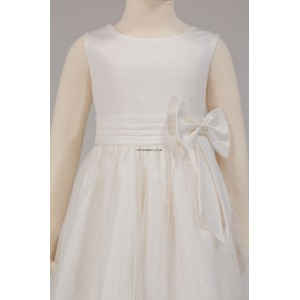 Girls Bridesmaid Party Ivory (Cream) Side Bow Dress
