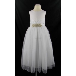 Girls White Diamante Middle Bridesmaid Party Dress
