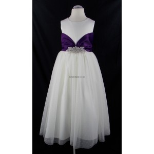 Girls Ivory-Cadbury Purple Diamante Middle Bridesmaid Party Dress