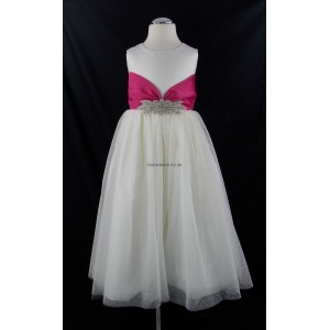 Girls Ivory-Pink Diamante Middle Bridesmaid Party Dress