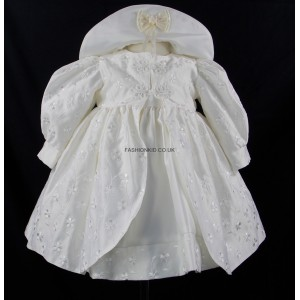 Baby Rosebud Pattened Ivory/Cream Jacket Dress