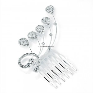 Silver Colour Crystal Hair Comb