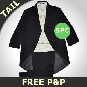 Boys 5 Piece Black & Cream Tail Coat Suit