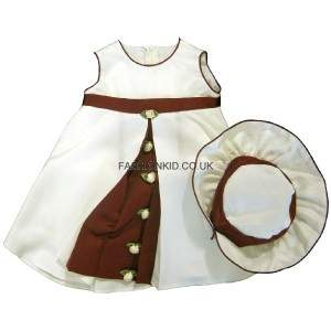 Rosebud Cream-Wine Party Baby Girls Dress