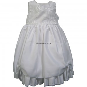 Flowery Formal White Party Girls Dress