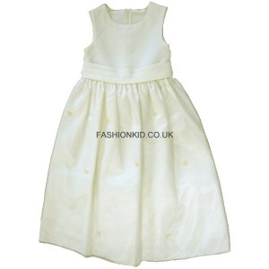 Plain Rosebud Cream Party Girls Dress