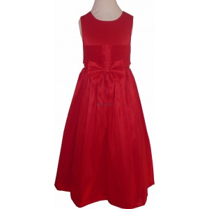 Pretty Red Bow Waist Girls Party Dress