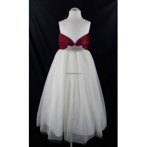 Girls Ivory-Red Diamante Middle Bridesmaid Party Dress