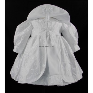 Baby Rosebud Pattened White Jacket Dress