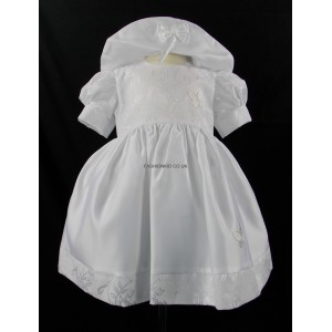 Baby 2 Piece Patterned White Butterfly Dress and Hat