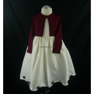 Cream & Wine Girls Dress with Matching Long Sleeved Soft Cardigan