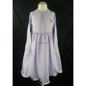 Lilac Girls Dress with Matching Long Sleeved Cardigan