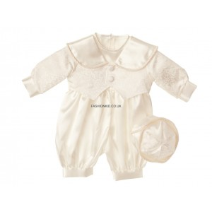 Boys Patterned Ivory (Cream) Christening Romper Suit