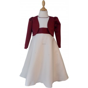 Girls Plain Cream & Burgundy Diamond Jacket Dress