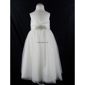 Girls Ivory Diamante Middle Bridesmaid Party Dress
