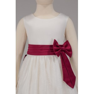 Girls Bridesmaid Party Side Ivory-Wine Bow Dress