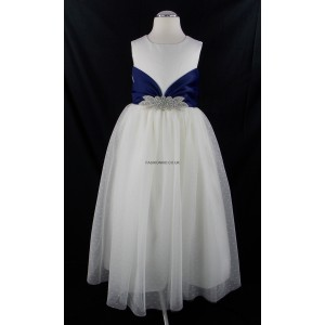 Girls Ivory-Navy Blue Diamante Middle Bridesmaid Party Dress